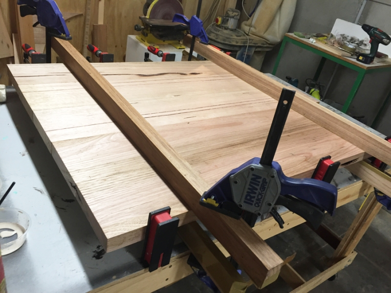 District Furniture solid timber laminated together to produce table top
