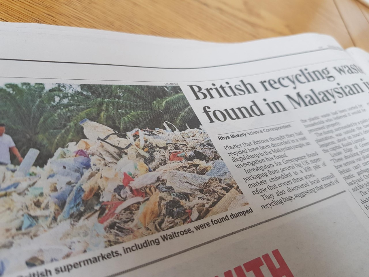 Plastic recycling waste from western countries ending up in landfill in Malaysia