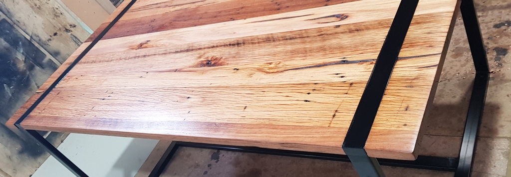 Solid timber custom design table with new metal fabricated frame