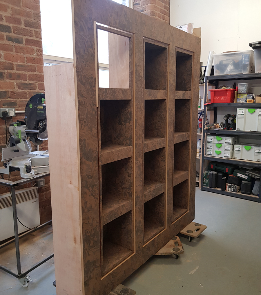 custom bookcase main body compete waiting for trim to be fitteed