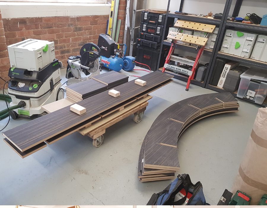 laminating edges to the curved bookcase