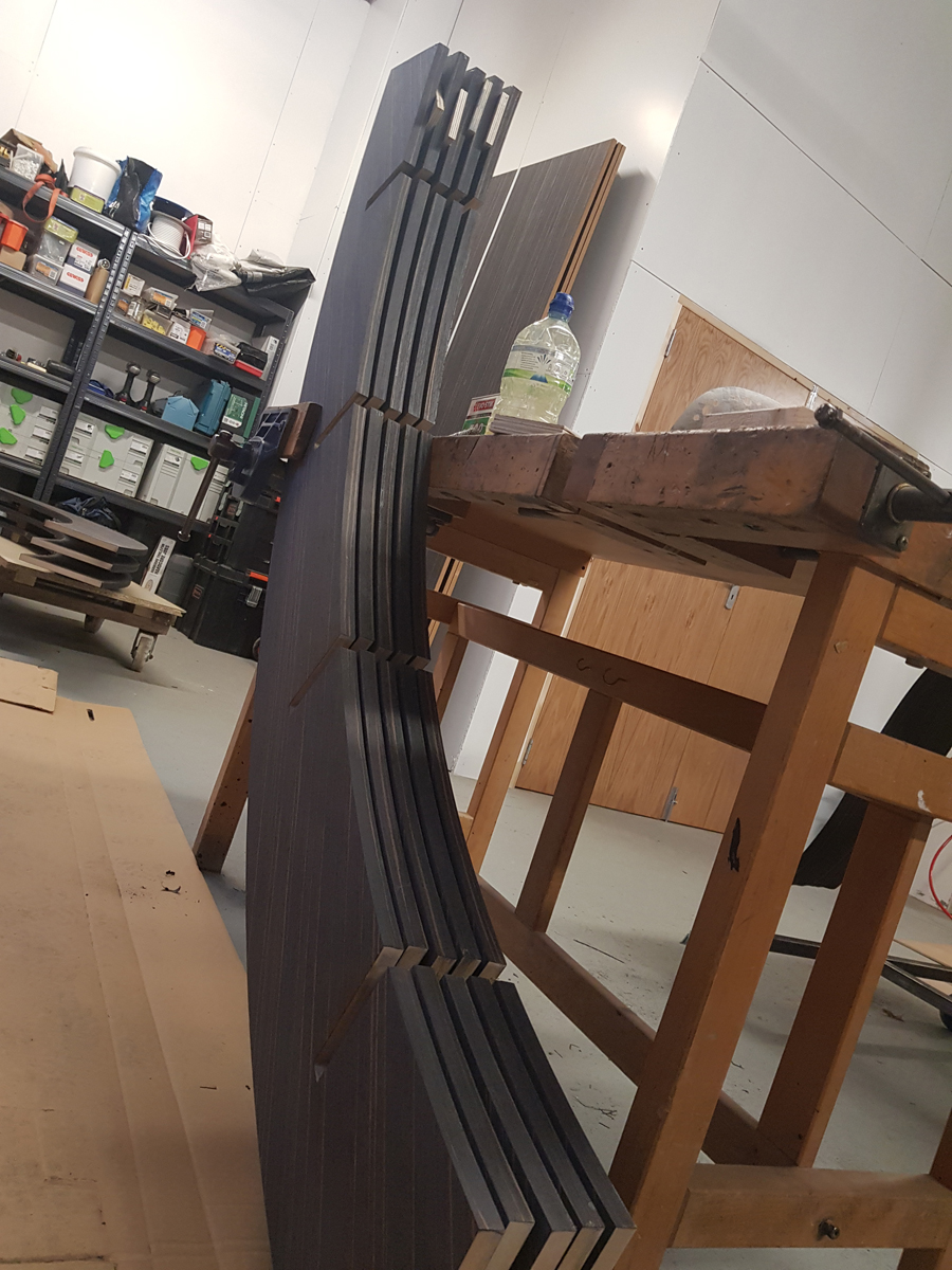 veneered edges to the curved bookcase custom made furniture