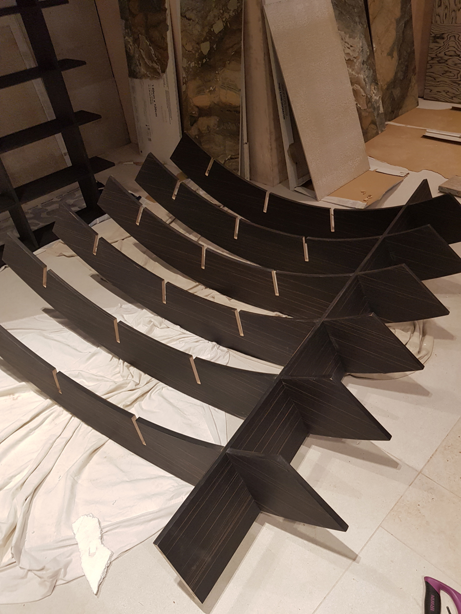 assembling the curved bookcase