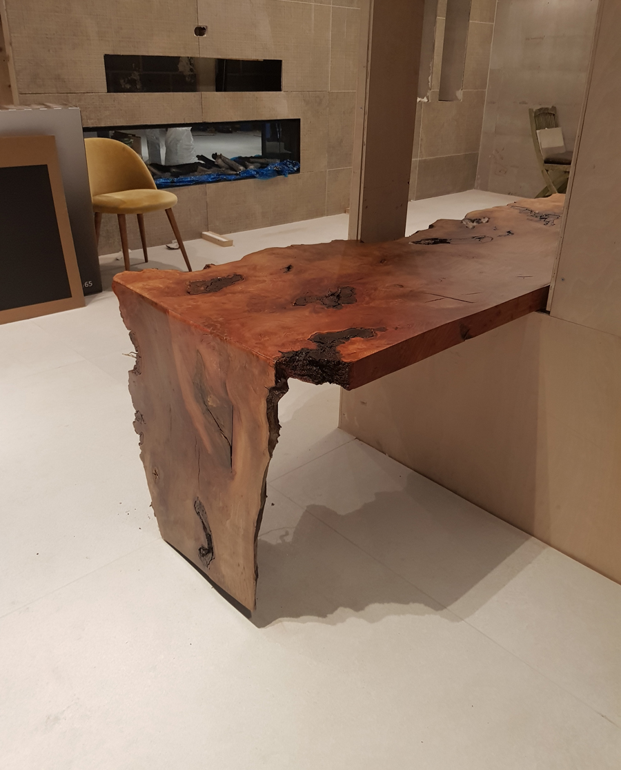 Waterfall edge on the London Plane timber table top