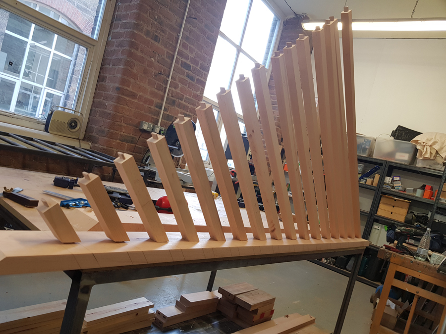 bespoke staircase safety barrier from solid beech
